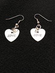Heart Earrings saying Love