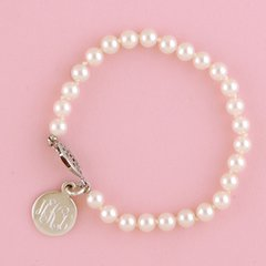 Pearl Bracelet with Sterling Round Disc-7""