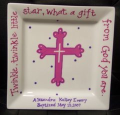 PERSONALIZED BAPTISM PLATE-(GIRL)-HAND PAINTED
