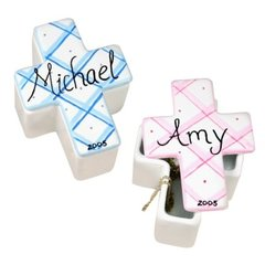 HAND PAINTED PLAID MINI CROSS CERAMIC BOX - PERSONALIZED