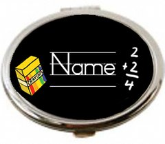 Personalized Teacher Chalkboard Oval Purse Mirror-Magnified & Regular