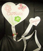 2 HEART BOW HOLDER-HAND PAINTED-SPRING FLOWER-PERSONALIZED