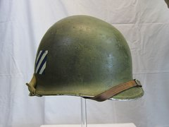 WWII U.S. M1 Helmet Swivel Bale Front Seam w/Westinghouse Liner, Marked 3rd Inf. Div. - ORIGINAL RARE-