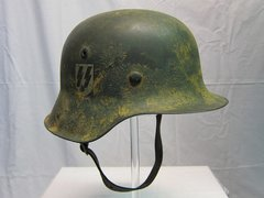 WWII German SS M42 Normandy Camouflage Helmet, Single Decal - ORIGINAL VERY RARE -