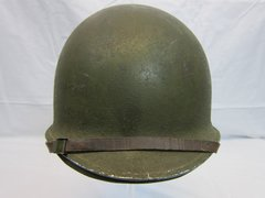 "WWII U.S. M1 Helmet Steel Pot, Fixed Bale, Front Seam w/Hawley Liner ""G"" General Fiber Complete, - ORIGINAL RARE- SOLD"