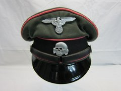 WWII German SS Enlisted Man's Pink Piped Panzer Visor Cap, Makers Mark - ORIGINAL VERY RARE -