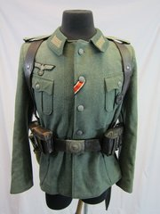 WWII German Army M36 Enlisted Tunic, with Gear, - ORIGINAL -