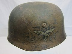 WWII German Paratrooper Helmet, Camouflage, Original, ID'd, Single Decal -ORIGINAL VERY RARE-