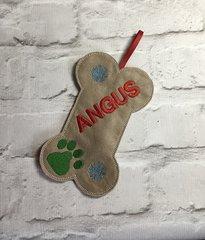 Christmas Dog Bone Treat Bag Personalised