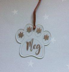 Handmade Personalised Dog Paw Acrylic Christmas Decoration