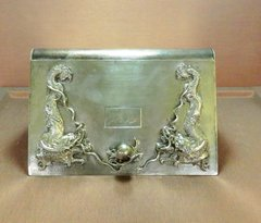 Elegant Asian silver dual compartment case with dragon elements