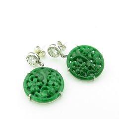 Jade and diamond drop earrings 14k