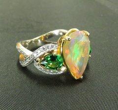 Faceted opal tsavorite garnet and diamond ring 18k