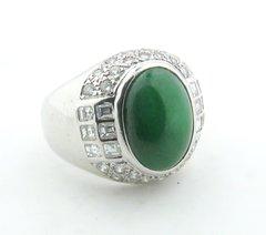 "Green ""A"" Jade and diamond ring 18k"