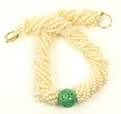 Pearl and jade necklace 14k
