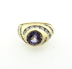 Lavender Sapphire and diamond ring 14k