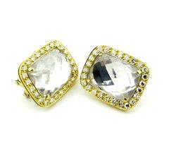 Faceted Quartz and diamond earrings 18k