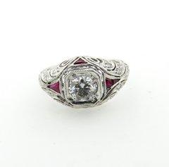 Art Deco design diamond ring platinum (new mounting)