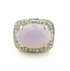 "Lavender jade grade ""A"" and diamond ring 14k"