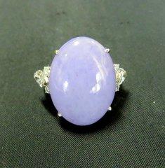 "Lavender grade ""A"" jade and diamond ring 14k"