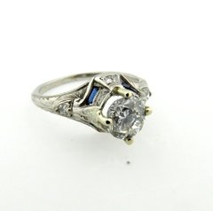 Vintage mount with modern diamond engagement ring 18k