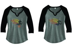 LADIE'S 3/4 SLEEVE RAGLAN WITH FULL COLOR RHINESTONES