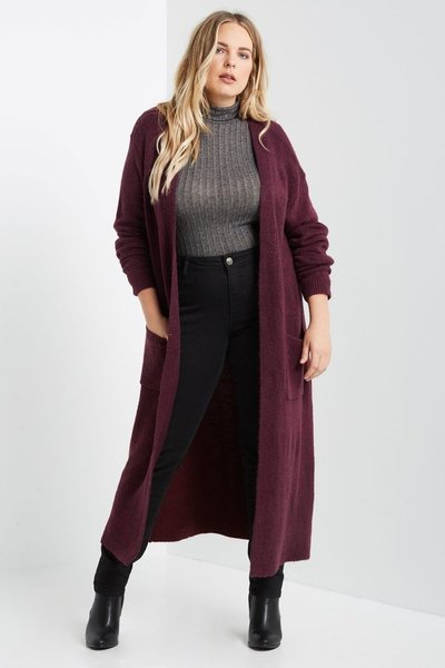 Burgundy Maxi Cardigan Sweater Coat   BAZ and BEA