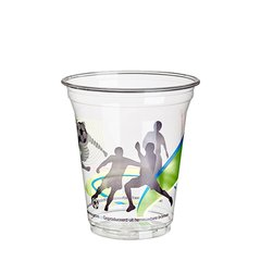 """Cold drink cups, PLA """"pure"""" 0,3 l Ø 9,5 cm · 11 cm crystal clear """"Football"""" with (75 pieces)"""