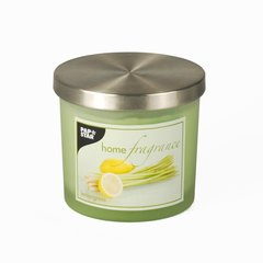 Aroma candle in glass Ø 84 mm · 75 mm light green - Lemongrass satin, with metal dec