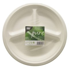 "Plates made of sugar cane ""pure"" 3-compartments Ø 26 cm · 2 cm white (50 pieces)"