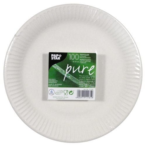 """Plate, cardboard """"pure"""" round Ø 23 cm white extra strong (100 plates)"""