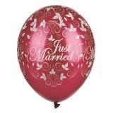 "Balloons Ø 29 cm bordeaux ""Just Married"" metallic"