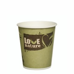 """Drinking cup, cardboard """"pure"""" 0,2 l Ø 8 cm · 8,8 cm assorted colors """"Love Nature"""" (50 cups)"""