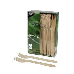 """Forks, wood """"pure"""" 16,5 cm FSC (100 pieces)"""