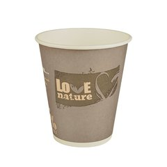 """Drinking cup, cardboard """"pure"""" 0,3 l Ø 9 cm x 10 cm assorted colors """"Love Nature"""" (75 cups)"""