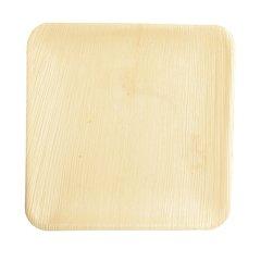 """Plates, Palm leaf """"pure"""" square 25,5 cm x 25,5 cm x 1,5 cm (25 plates)"""