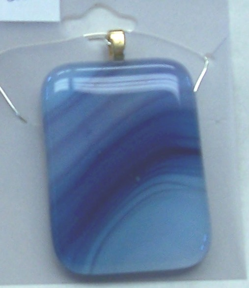 Necklace, blue and purple rectangle