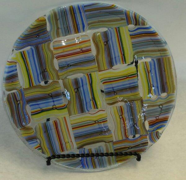 Fused glass plate, modern design