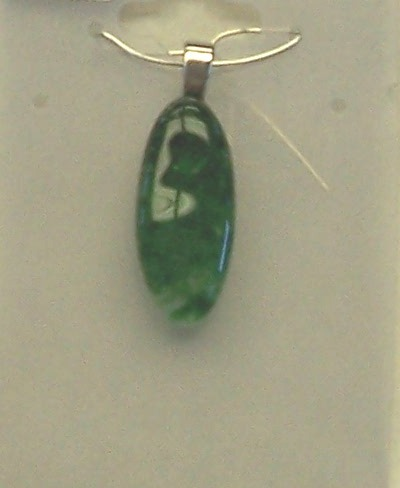 Necklace, green oval