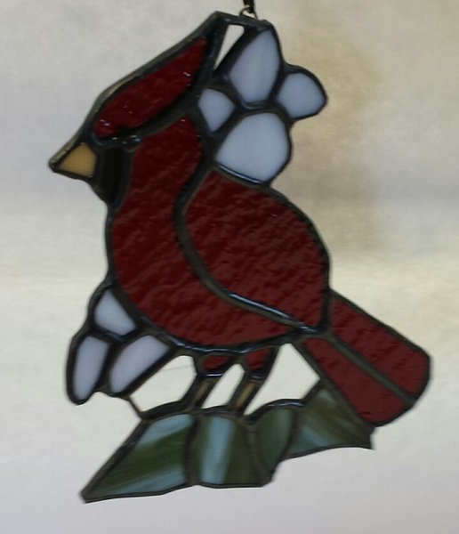 Small cardinal with flowers