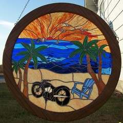 Motorcycle on the beach window