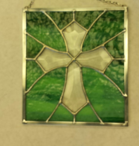 Beveled ornate cross with color