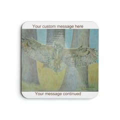 Great Horned Owl Print Customize It! Cork Coaster Set