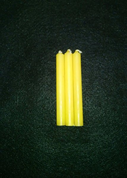 3 Yellow Spell Chime Candles 4 Inch Karma Keepers