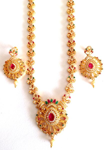 Czlong necklace1 gm goldcz jewelleryharamhaaramgold plated cz long necklaceharam 1122 aloadofball Gallery
