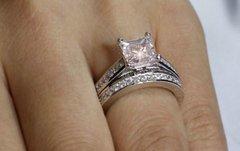 15CT PRINCESS CUT LAB CREATED WEDDING SET