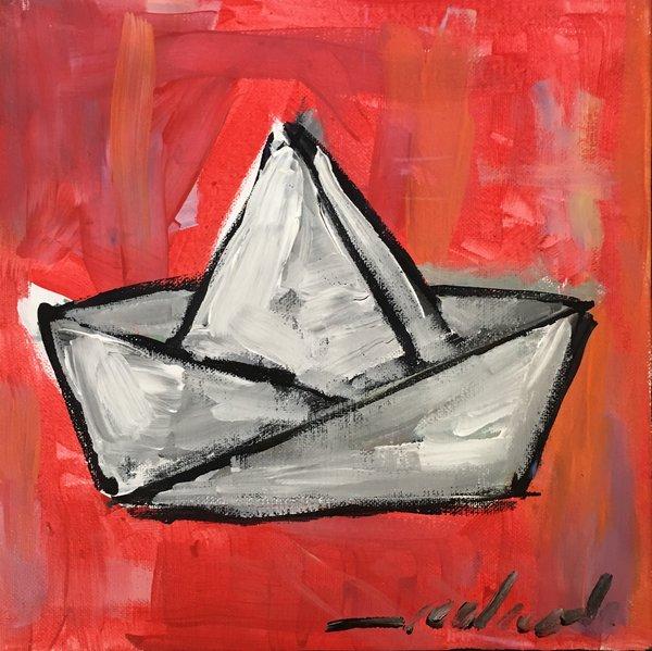"""Rolando Chang Barrero, El Bote Rojo, 12"""" x 12"""", Acrylic On Canvas"""