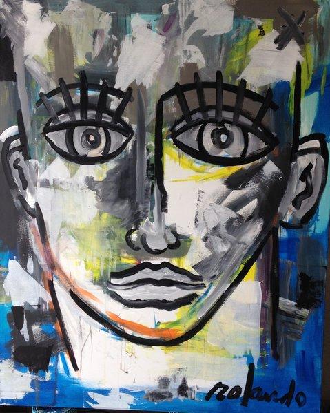 "Rolando Chang Barrero, Rostro (Azul) 48"" x 60"" Acrylic on Canvas"