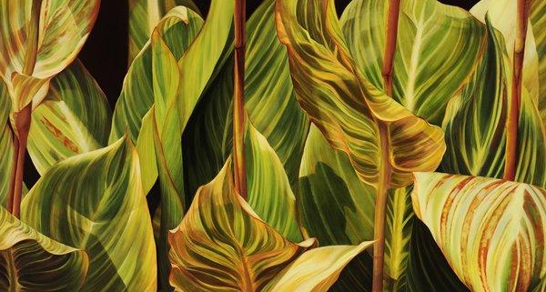 Deborah Bigeleisen, SYMPHONY IN GREENS, Oil, 38 x 70