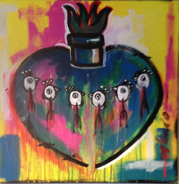 "Rolando Chang Barrero, Sacred Heart Series (Yellow), acrylic on canvas,  20"" x 20"""